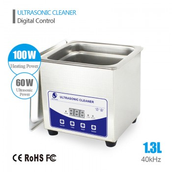 1.3L Liter Industry Heated Ultrasonic Cleaner Machine Heater Timer Stainless Ste...