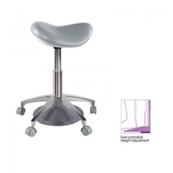 Medical Dental Saddle Chair Foot Controlled Mobile Doctors' Stool PU Leather