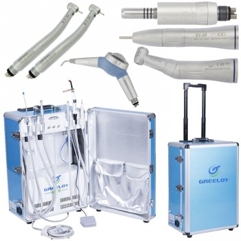 Greeloy® GU-P206 Portable Dental Unit + High Speed Handpiece + Low Speed Handpiece + Air Polisher