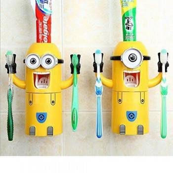Small Yellow People Automatic Toothpaste Dispenser +2 Toothbrush Holder Set