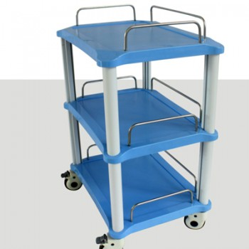 ZL® YA50 Dental Cart (3 Trays ABS Blue Rolling Trolley)