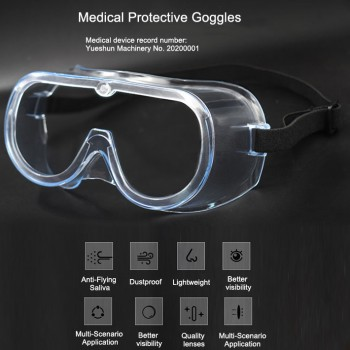 5Pcs Medical Protective Goggles Splash Safety with Clear Anti Fog Lenses Block F...