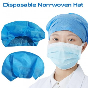 40Pcs Disposable Hair Head Cap Non-woven Bouffant Caps Medical Food Supplies