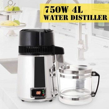 750W Digital Dental Clinic Water Distiller Purifier Filter Stainless Steel Digital Panel Glass Water Bottle