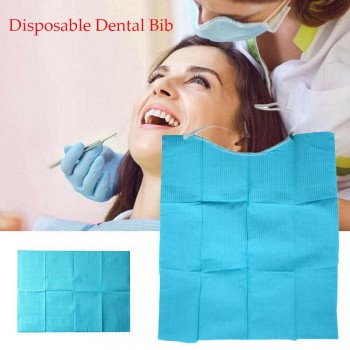 300Pcs Disposable Waterproof Dental Bibs with Tie For Dental Treatment