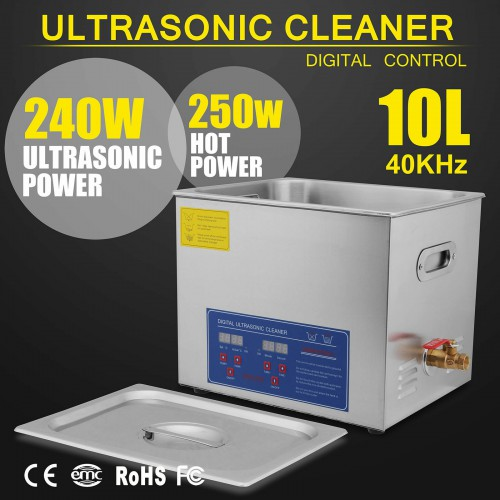 10L Industry Ultrasonic Cleaner Heater w/Timer & Cleaning Basket Stainless Steel