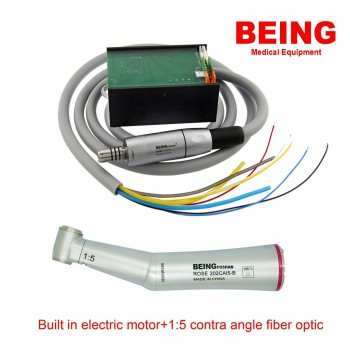 BEING Dental Built in Electric Motor + Contra Angle LED 1:5 Fiber Optic Handpiec...