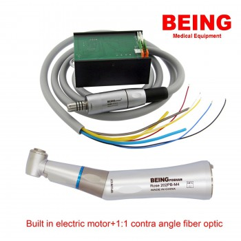 BEING Dental Electric Motor + Contra Angle 1:1 Fiber Optic Handpiece