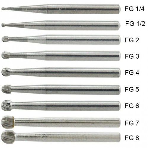 10Pcs FG 1/4 1/2 1 2 3 4 5 6 7 8# Round Head Dental Friction Grip Shank Carbide Burs