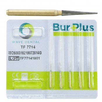 10 Pcs Wave Dental Taper Fissure TF 7714 Burs Trimming & Finishing Carbide 12 Blade Bur