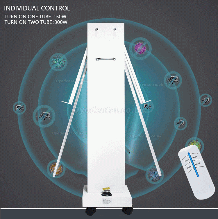 300W UVC +Ozone Disinfection Lampe Ultraviolet Light Sterilizer Trolley with Radar Sensors