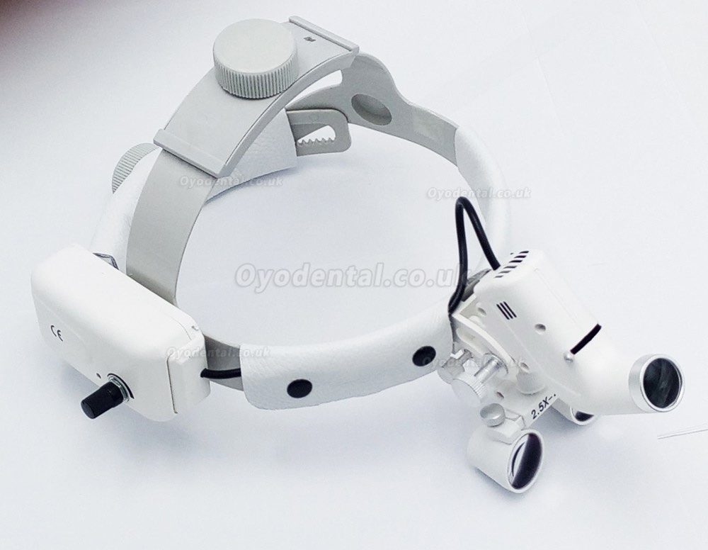 Dental Surgical Medical 2.5X420mm Headband Loupe with LED Headlight DY-105 White
