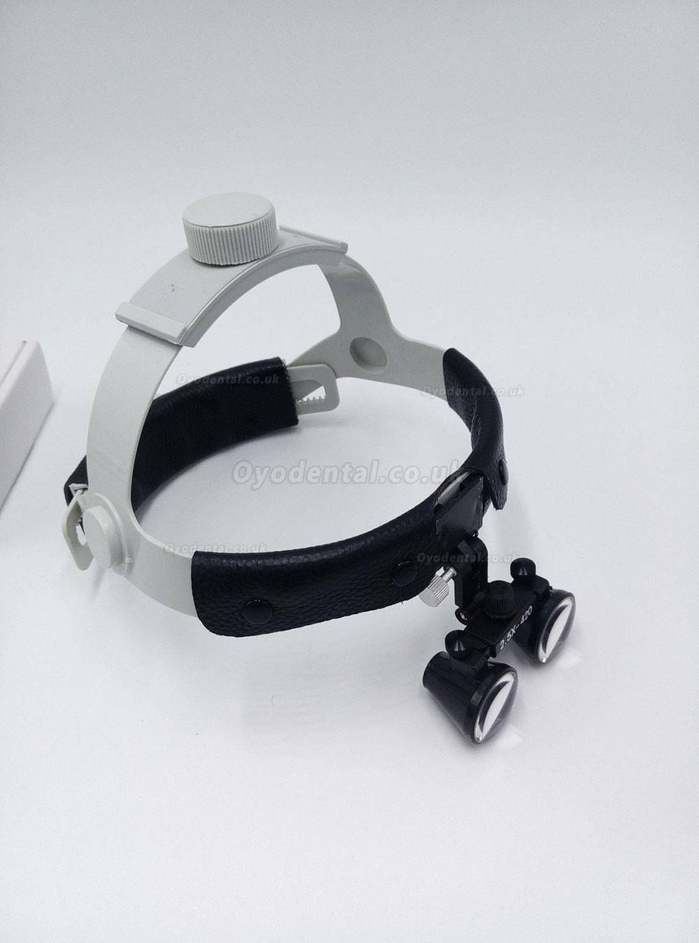 Dental Surgical Binocular 2.5X420mm Leather Headband Loupe with LED Headlight