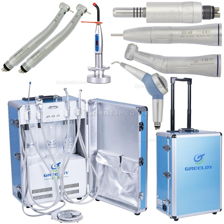 Greeloy® GU-P204 Portable Unit + Tubine Handpiece + Low Speed Handpiece Kit + Curing Light + Air Polisher