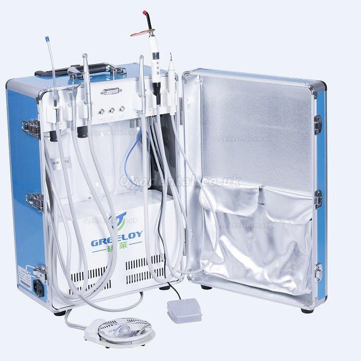 Greeloy® GU-P206 Portable Dental Unit + E-generator +Turbine Handpiece + Low Speed Handpiece + Air Polisher