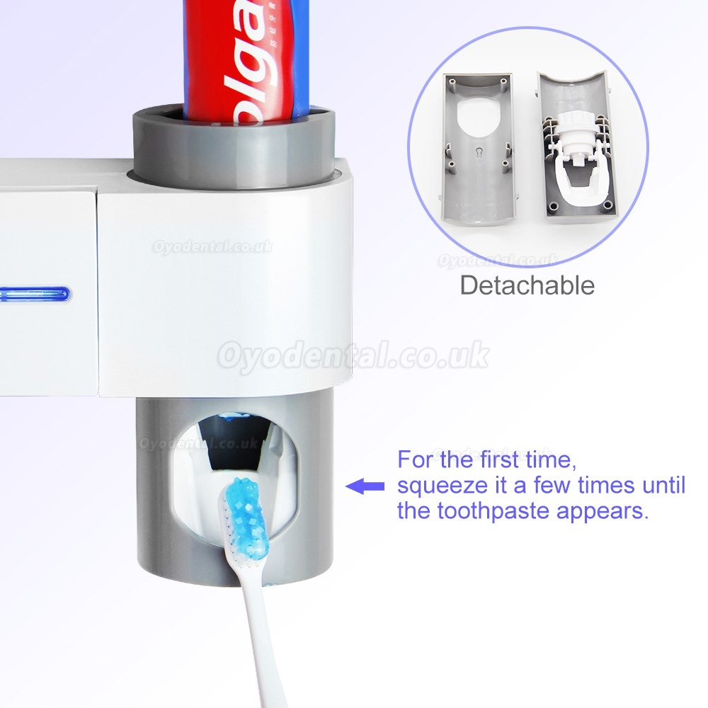 2 in 1 Toothbrush UV Light Sterilizer Toothbrush Holder Automatic Toothpaste Dispenser