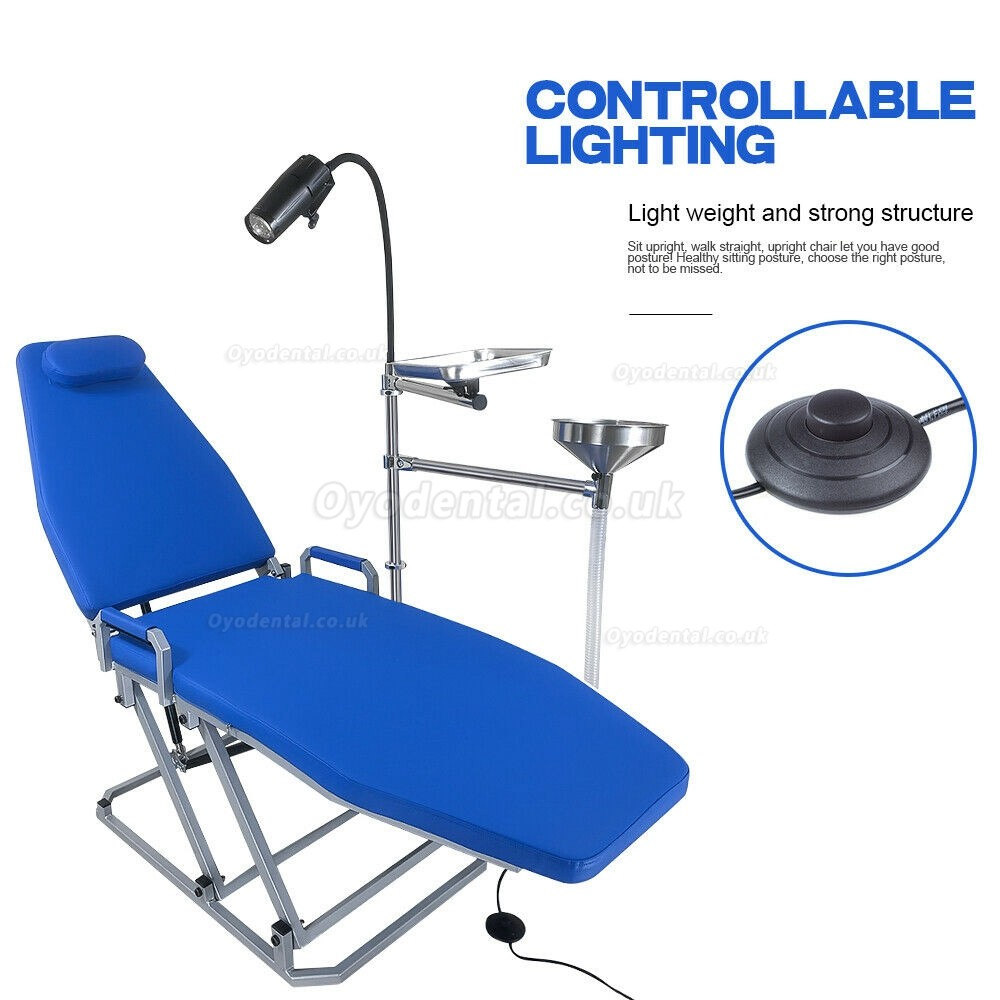 Greeloy Upgrated Portable Folding Chair with LED Cold Light and Instrument Tray Full Set GU-P109