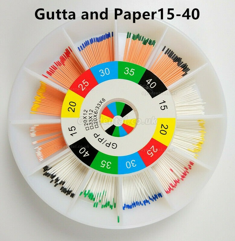 2Packs Dental Endodontic Gutta Percha Absorbent and Paper Points 15-80 Mixed
